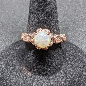 Gorgeous Fire Opal and CZ Ring in Rose Gold